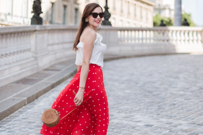 Blog-Mode-And-The-City-Looks-Jupe-rouge-a-pois